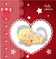 Red baby shower card with cute baby vector