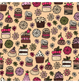 Seamless pattern of hand drawn cakes desserts vector