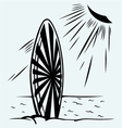 Surfboard on a beach vector