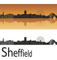 Sheffield skyline in orange background vector