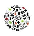 Smoking icons in circle vector