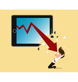 Bankruptcy concept red arrow crash tablet screen vector