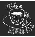 Chalk cup of espresso vector