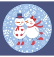 Beautiful christmas card with two frosties kissing vector