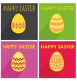 Flat easter egg set with wishes and long shadow vector