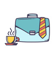 Blue business case with cup of coffee and vector