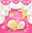 Pink baby shower card with sleeping newborn baby vector