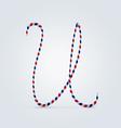 Striped font u vector