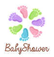 Baby shower feet emblem vector