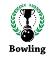 Sport bowling league label with laurel wreath vector