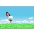 Golf ball on a tee simple golf background vector