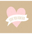 Cute pink heart cardboard paper wedding design vector