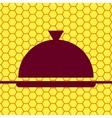 Restaurant cloche flat modern web button and space vector