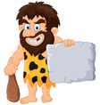 Caveman with stone tablet vector