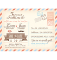 Vintage airmail postcard wedding background vector