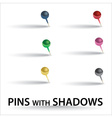 Color pins with shadow eps10 vector