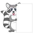 Cute raccoon cartoon holding blank sign vector