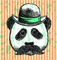 Hat panda mustache vector