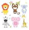 Set of cute cartoon wild animals vector