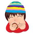 The boy eat doughnut cartoon vector