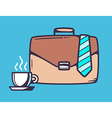 Brown business case with cup of coffee an vector