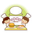 Kids chef fast food promotion vector
