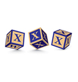 Letter x wooden alphabet blocks vector