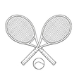 Two tenis rackets and ball vector
