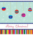 Merry xmas card with baubles hand written text vector