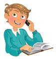 Blond boy in blue sweater and phone and book vector