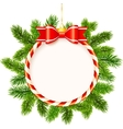 Christmas frame with red bow and fir tree branches vector