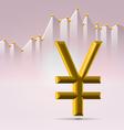 Golden yena sign over chart vector