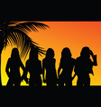 Five girls silhouette vector