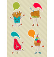Colourful food cartoons with dialogue balloon vector