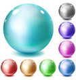 Set of multicolored glossy spheres vector