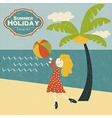 Retro young girl playing ball on the beach vector