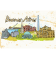 Buenos aires doodles with grunge background vector