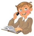 Blond boy and phone and book vector
