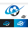 Swoosh soccer ball icon vector