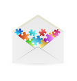 White envelope with puzzle pieces vector