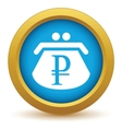 Gold rouble purse icon vector