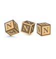 Letter n wooden alphabet blocks vector