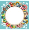 Bright frame with easter eggs and spring flowers vector