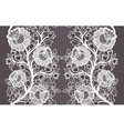 Wide seamless white lace ribbon with roses vector