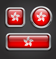 Hong kong flag glass buttons vector