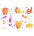 Cartoon birthday icons vector