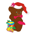 New years bear with gifts vector
