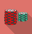 Casino chips icon modern flat style with a long vector