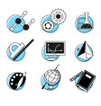 Science linear icons set school lessons vector
