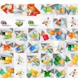 Mega collection of geometric paper style banners vector